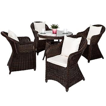 Tectake Salon De Jardin En Haute Qualite Cadre En Aluminium 4x Chaise 1x Table Resine Tressee Poly Rotin Ensemble 8x Coussins Impermeable