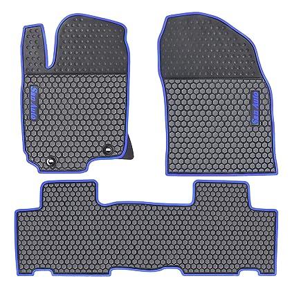 Amazon.com: HD-Mart Car Rubber Floor Mat for Toyota RAV4 2014-2015-2016-2017-2018 Custom Fit Black & Navy Blue Auto Liner Mats All Weather, ...