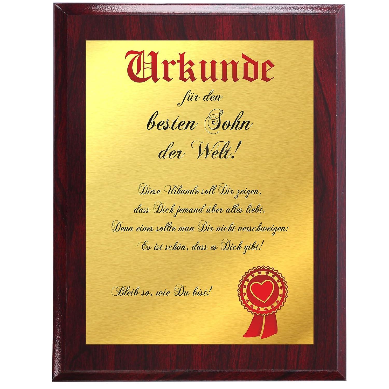 Urkunde für den besten Sohn der Welt … (Gold Metallic + marmorierte  Holztafel): Amazon.de: Küche & Haushalt