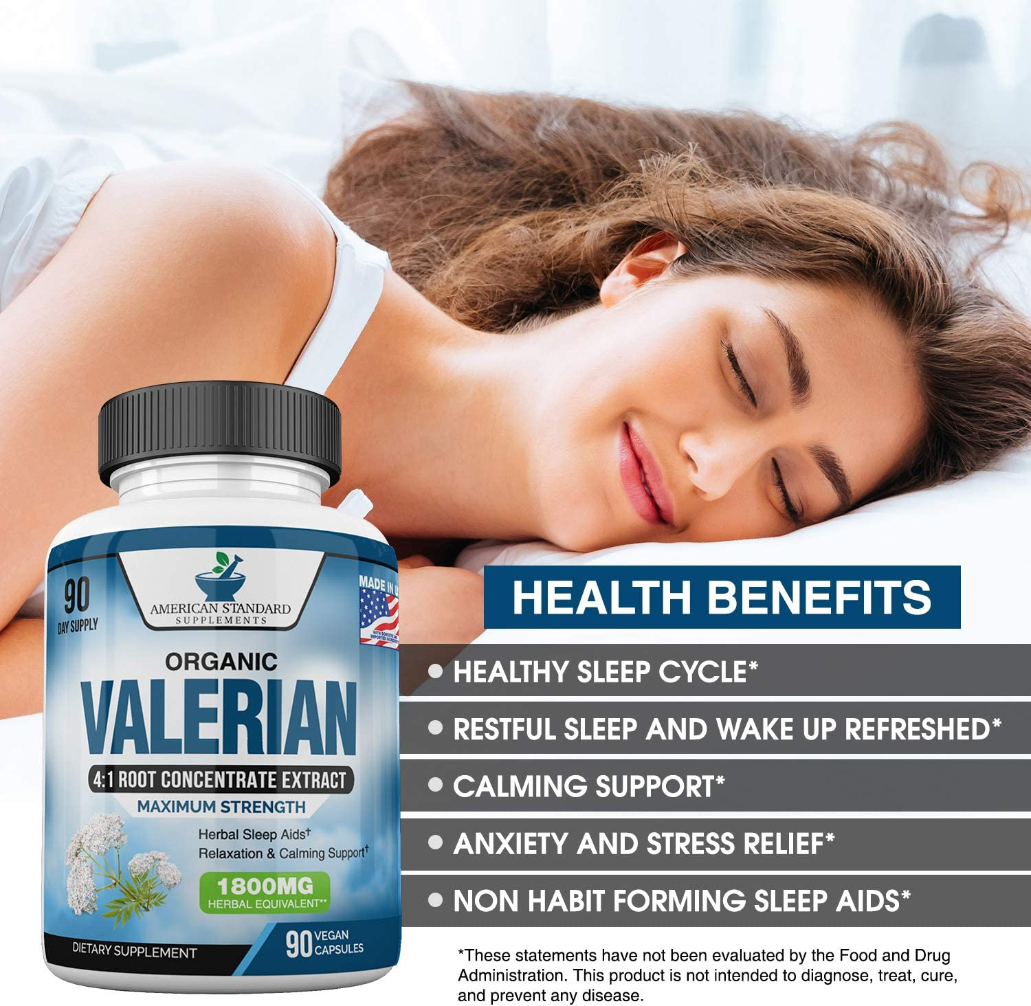 Valerian Root Capsules Organic 1800mg, Natural Sleep Aid, Sleeping Pills for Adults, Better Than Melatonin Gummies, 90 Veggie Caps, 3 Month Supply