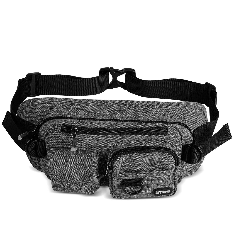 YBWM Fanny Pack Waist Bag Shoulder Bag with 5 Zipper Pockets, Multi Pockets Pack Large Capacity Bag for Hiking Waking