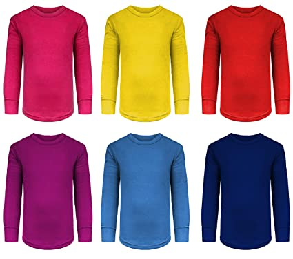 Amazon.com  Girls Boys Toddler 6 Pack Athletic Performance Long Sleeve  Undershirt Tops Base Layer Cotton Stretch Shirts  Clothing d7f732d45e0