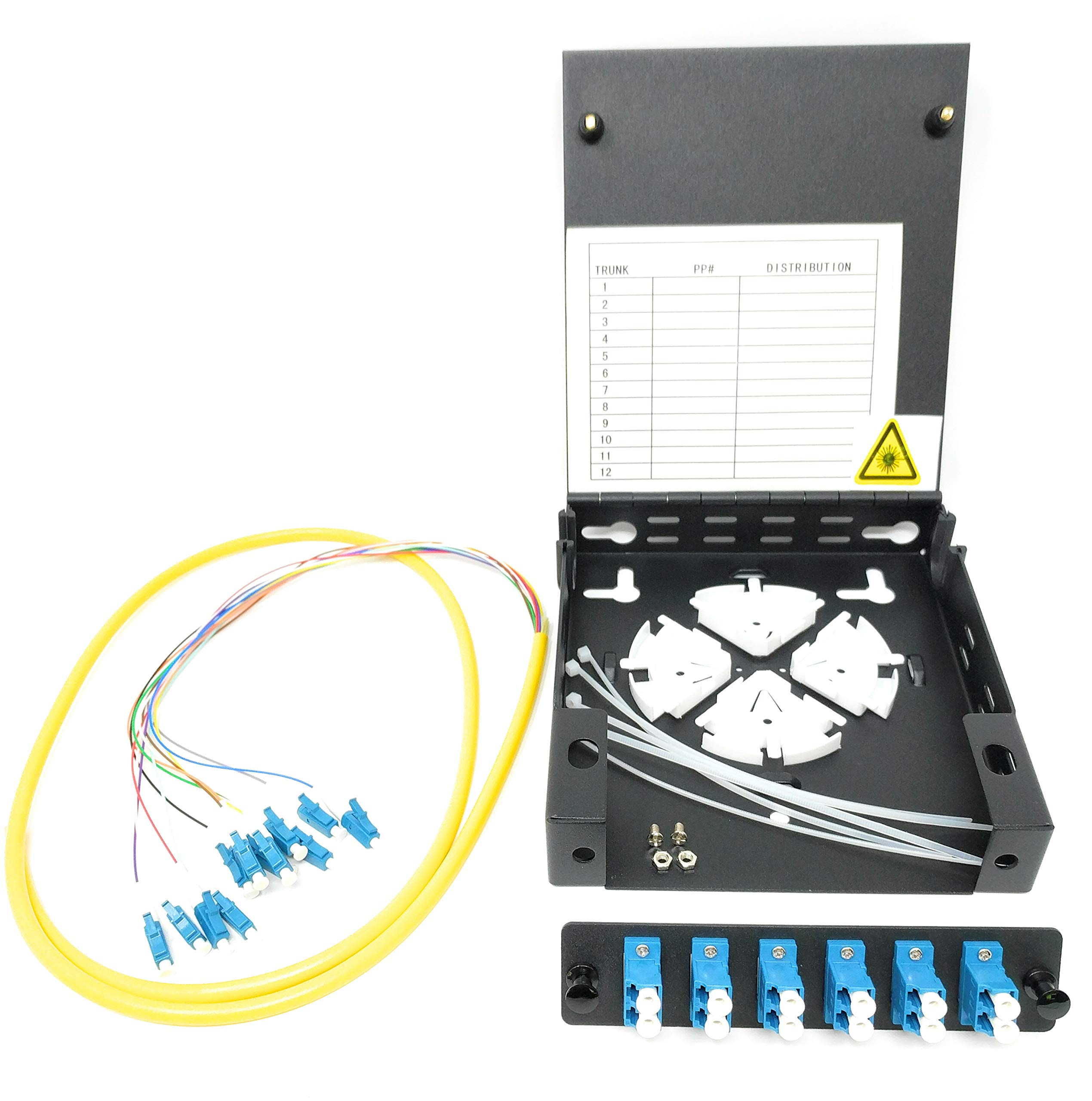 Ultra Spec Cables 12 Port Wall Mount Fiber Enclosure with Spool Singlemode LC-UPC Kit (Includes a 1 Meter 12 Strand LC-UPC Pigtail and 6 Port Duplex LGX Loaded Panel