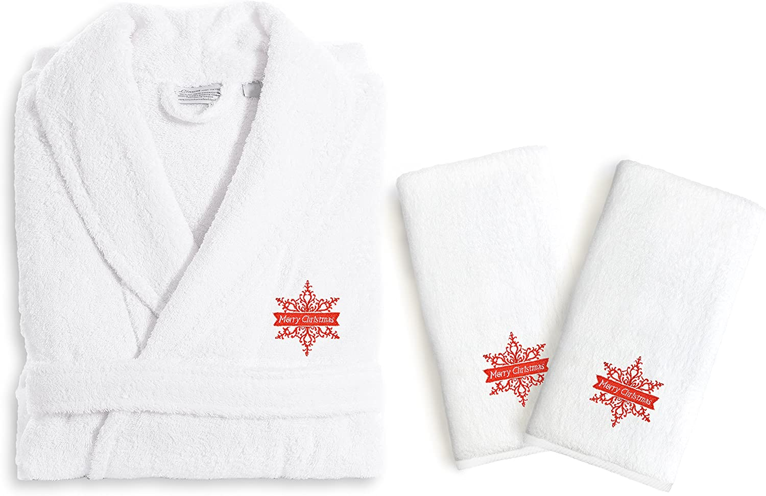Linum Home Textiles TR00-LX-2HT-63-MERRY Hand Towels Terry Robe Set Merry Christmas