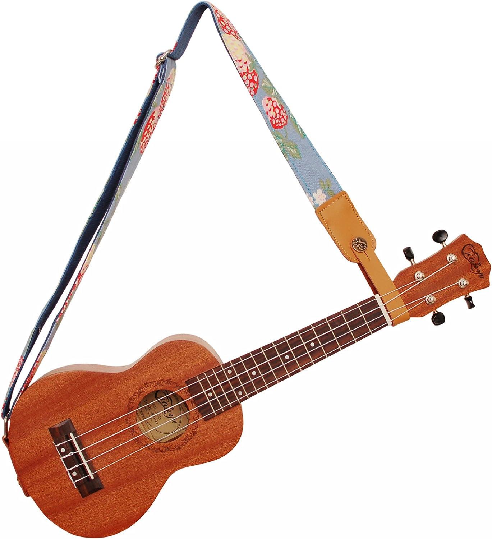 Music First Chiusura con bottone per tracolla originale in vera pelle per ukulele//banjo//chitarra acustica//basso acustico Rose Apricot