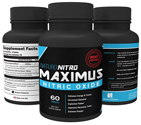 Amazon.com: Maximus Nitric Oxide Nitric Oxide Tablets — High Potency NO Booster and L-arginine Supplement - Allows You to Build Muscle Faster, ...
