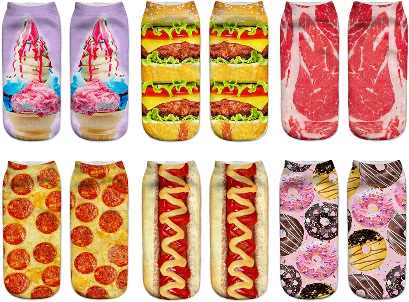 Women Girls Funny Crazy Ankle Socks Cute Silly 3D Print Sloth Food Novelty Low Cut Liner Value Packs