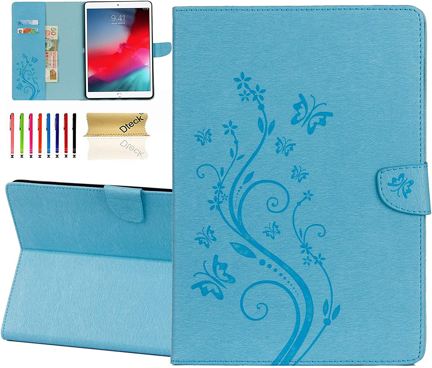 Dteck Case for iPad Air (3rd Generation, 2019, Model A2152/A2123/A2153) & iPad Pro Tablet (2017, Model A1701/A1709, 10.5 Inch), Slim Lightweight Leather Wallet Butterfly Cover with Stylus Pen (Blue)