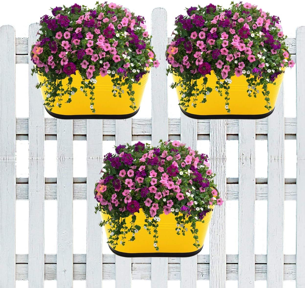 ecofynd 10 inches Oval Metal Rail Planter | Balcony Railing Hanging Plant Pot | Indoor Outdoor Home Decor Deck Flower Box | Window Garden Wall Fence Iron Bucket Container, Color - Shine, Set of 3