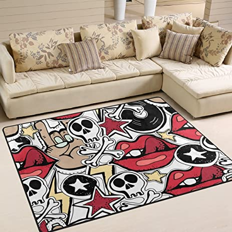 La Random Crazy Punk Rock Abstract Background Area Rug Decorative Shaggy  Rugs 80x58 Inches, Non