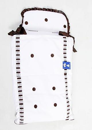 Saco Capazo 3 USOS- Carrito bebe (Saco + colchoneta + Colcha)  .Serie Pique topo bordado .Color blanco: Amazon.es: Bebé