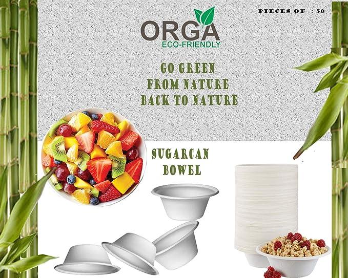 aus nachwachsendem Zuckerrohr hergestellt,extra stark biologisch abbaubar robust rund rein ORGA Pappteller Einwegplatte wei/ß 7 Zoll 50 St/ück