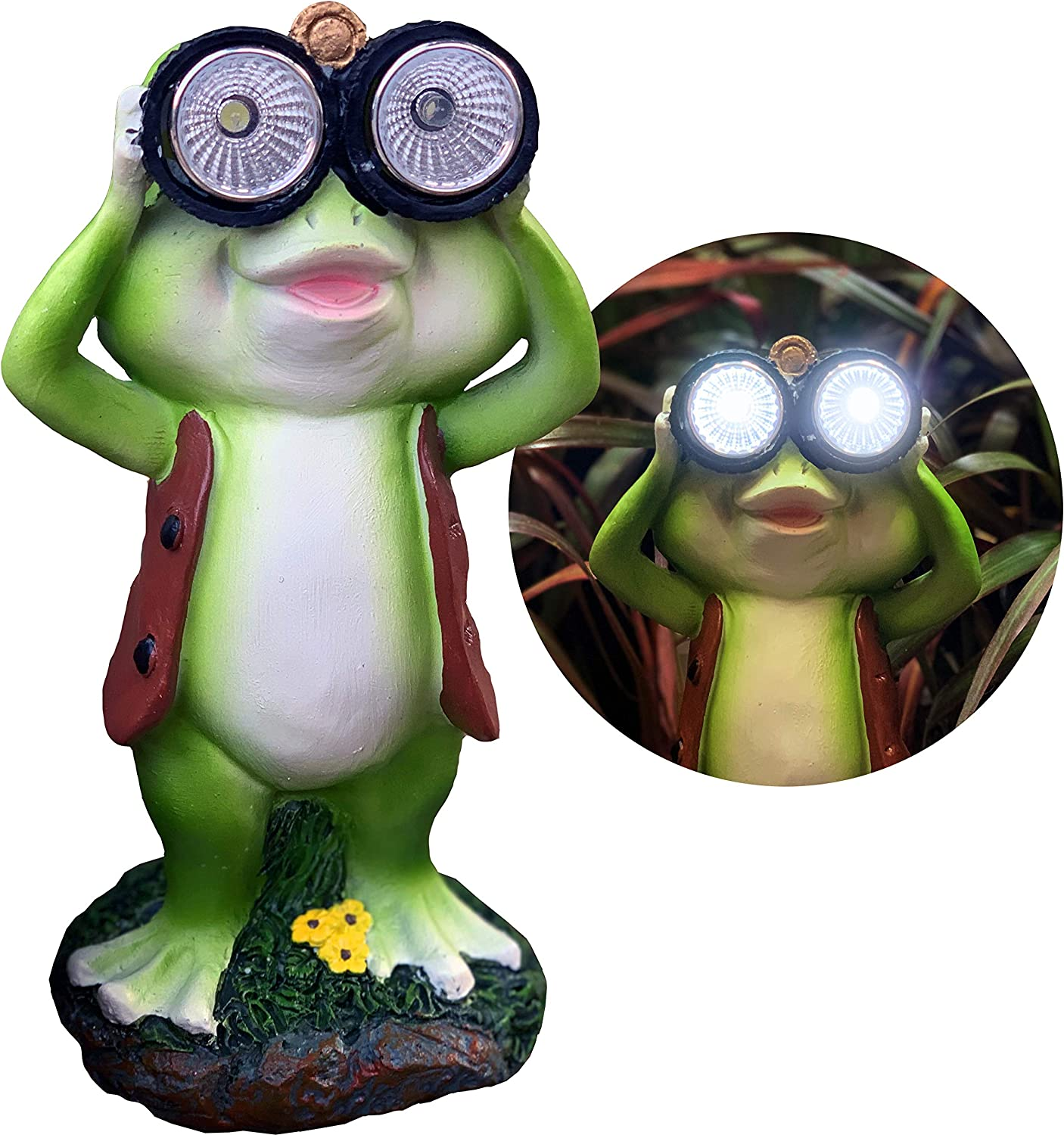 New Solar Frog Lawn Ornament - Limited Edition 'Freddy The Explorer' - 8 inches Tall - Solar Garden Statue
