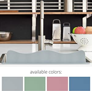 Blue Ginkgo Sink Splash Guard - Premium Silicone Water Splash Guard for Kitchen, Bathroom and Island Sinks - Made in Korea - Food Grade Platinum Silicone (19.2 L x 3.1 H x 1.9 W Inches) - Gray