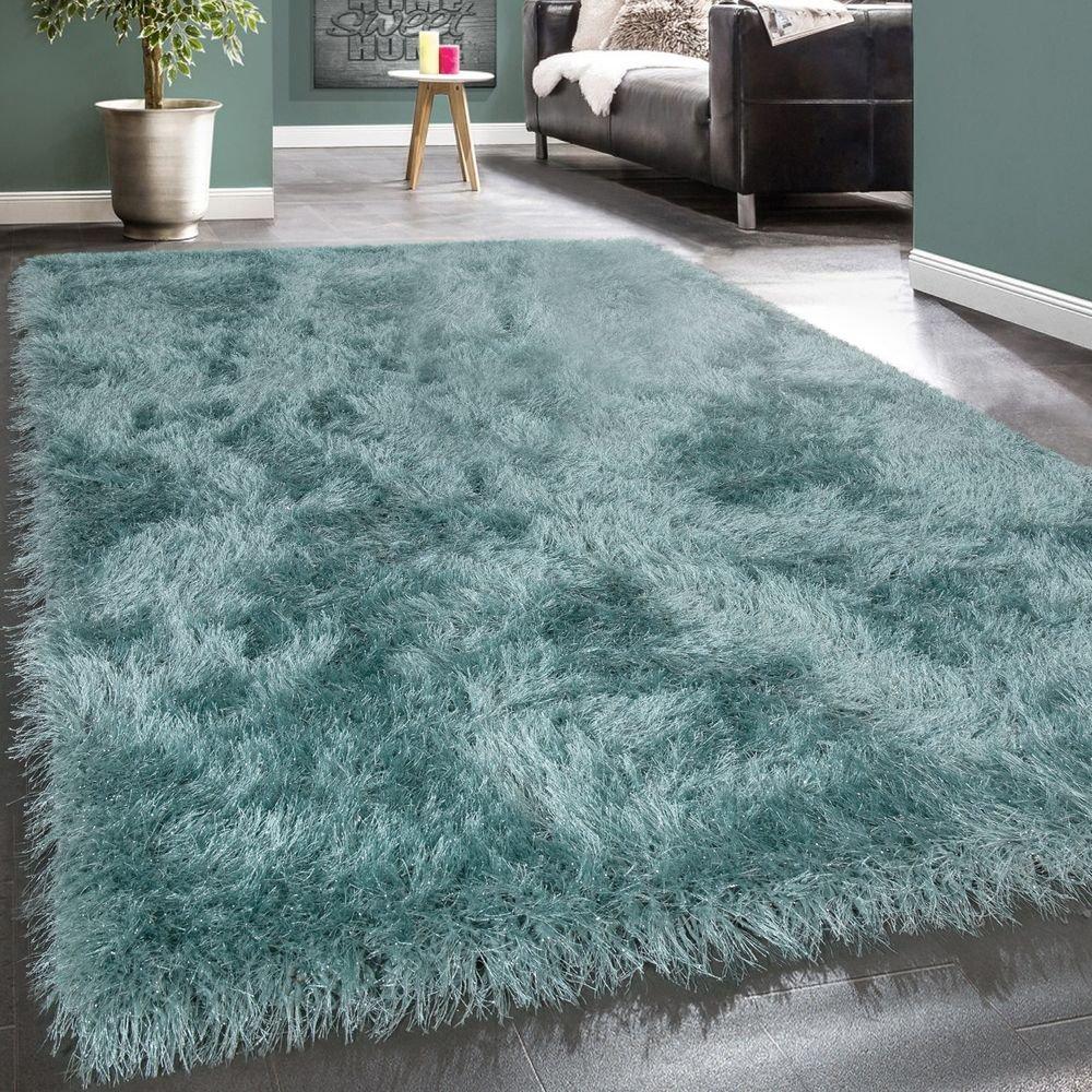 Paco Home Moderner Wohnzimmer Shaggy Hochflor Teppich Soft Garn In Uni Pastell Türkis, Grösse 200x290 cm