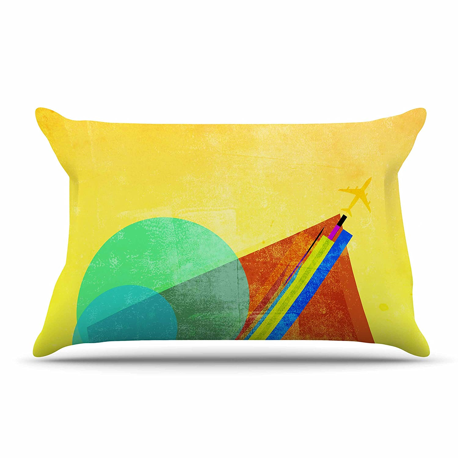 30 x 20 Pillow Sham Kess InHouse Frederic Levy-Hadida Landing Blue Yellow Mixed Media Geometric