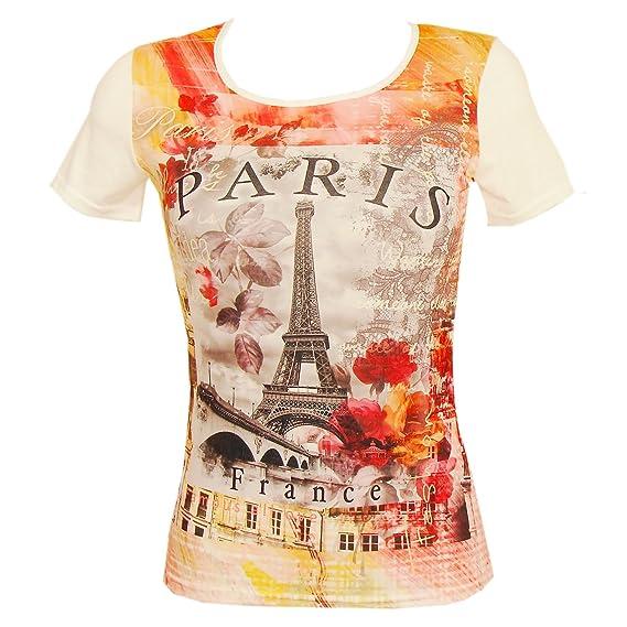 b8bbb274003 T-Shirt Femme Luxe  Paris en Fleurs  - Orange  Amazon.fr  Vêtements ...