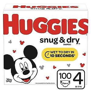 Huggies Snug & Dry Diapers, Size 4 (22-37 lb.), 100 Ct, Giga Jr Pack (Packaging May Vary)