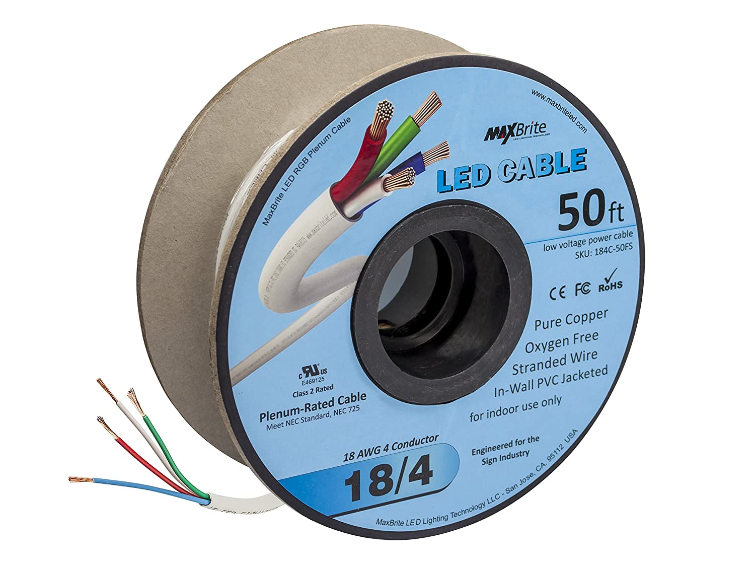 18AWG Low Voltage LED Cable 4 Conductor In-Wall Jacketed Pure Copper ...