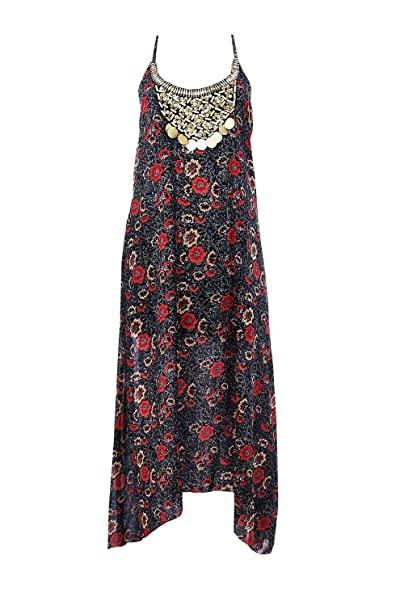 b389b0171252a Boohoo Womens Petite Tasha Floral Print Hanky Hem Dress in Black size 2