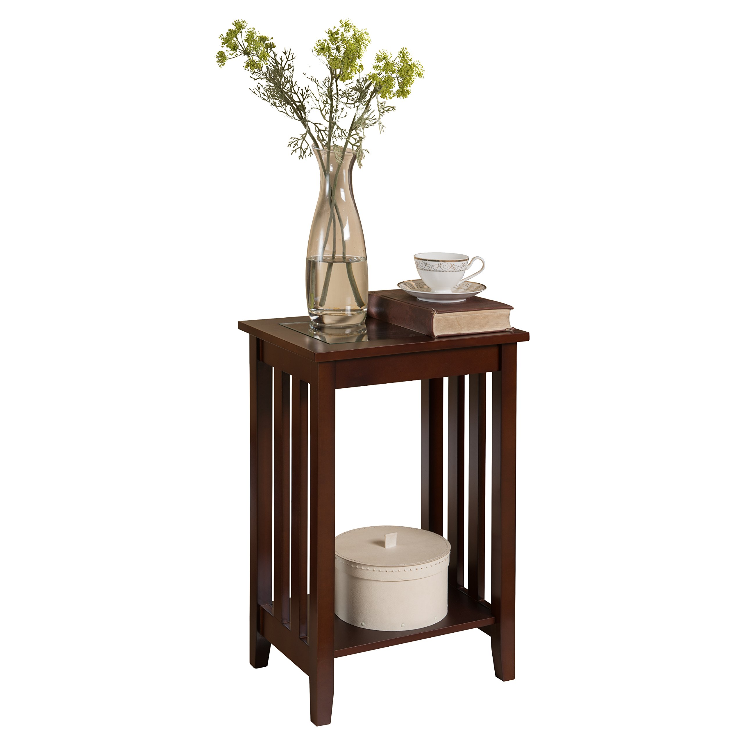 Pilaster Designs - Walnut Finish Wood Chair Side Accent End Table, Plant Stand