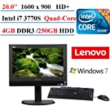 """2017 Lenovo Thinkcentre M72z All-in-One Desktop 20"""" PC, Intel Quad-Core i7 3770s (3.10 GHz), 4 GB Memory, 250 GB HDD, With Keyboard & Mouse, Windows 7 Home Premium (Certified Refurbished)"""
