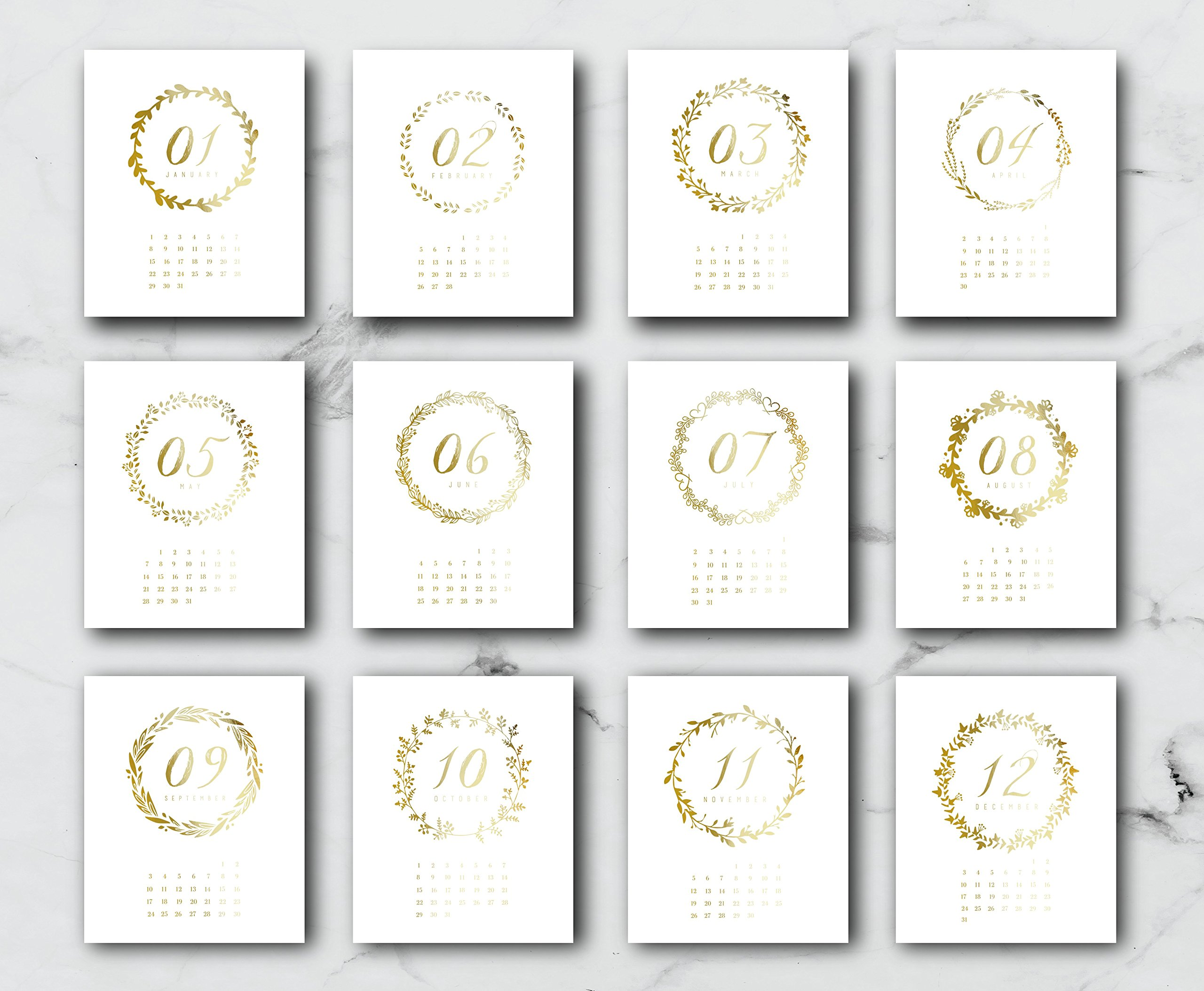 2018 Desktop Wreath Calendar, Card Stock Paper, Handmade Paper, Minimal Art, Christmas Gift, 2018 Calendar, Real Gold Foil, Modern Print