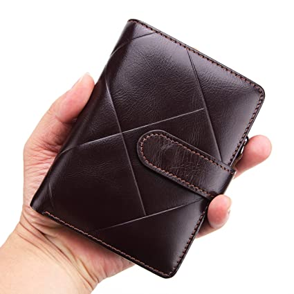 HHF Purses /& Wallets Mens Tri-fold Wallet Cowhide Purse Casual Short Oil Wax Leather Wallet