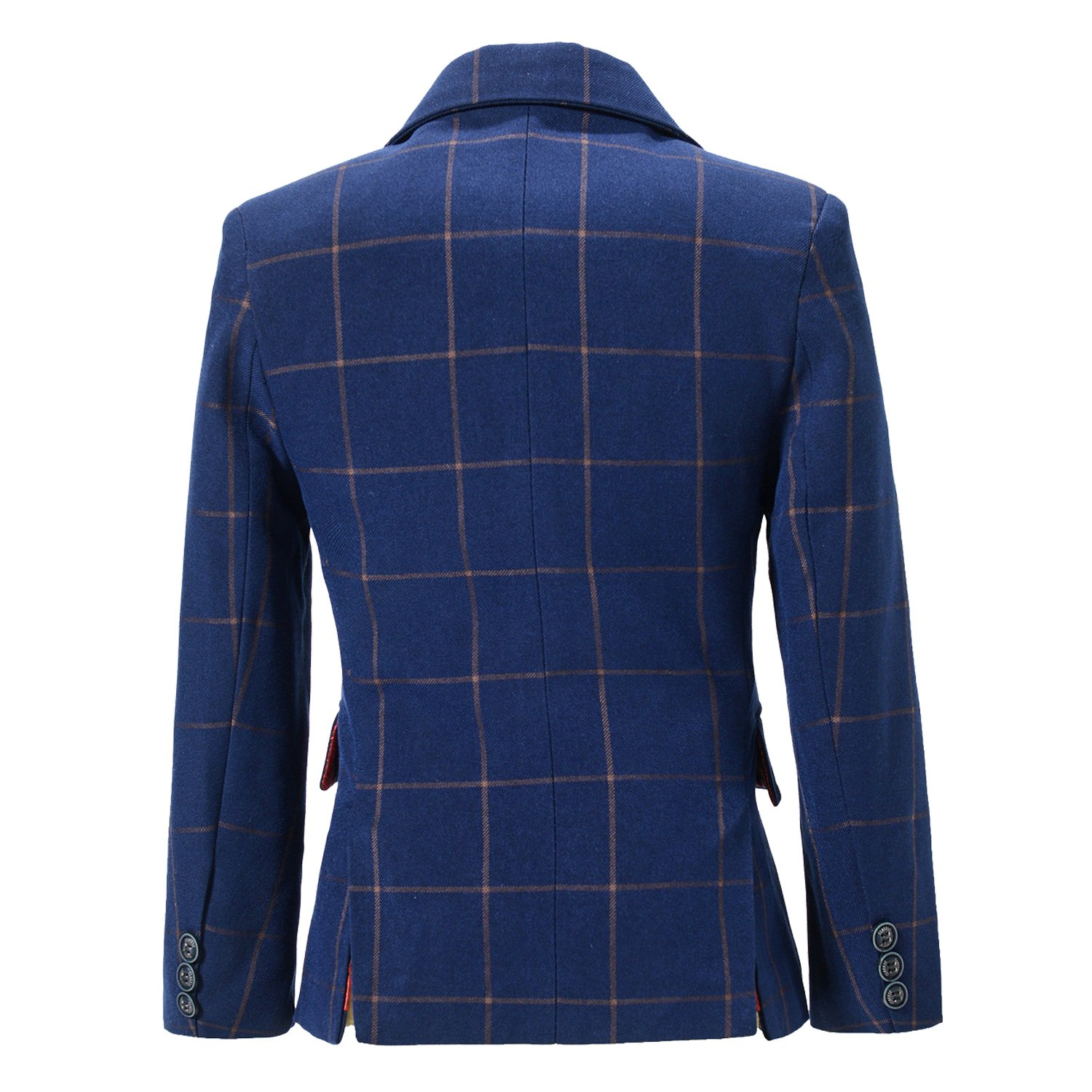 YuanLu Boys Plaid Tuxedo Suits Kids Outfit Jacket For Weddings Size 12 Navy Blue by YuanLu (Image #2)