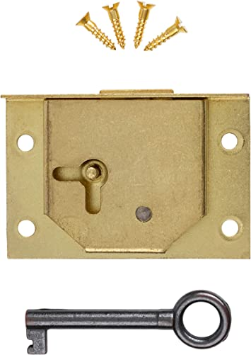 "2x 3/"" Inch Brass Door Lock /& Key For Wardrobe Cupboard Cabinet Desk Drawer"