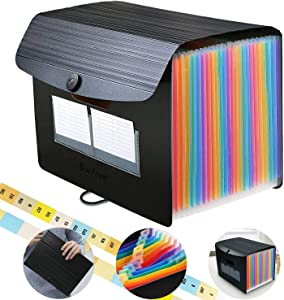 Accordian File Organizer,24 Pockets Expanding File Folders with 30 Indentations Expandable Lid for Portable/Desktop Paper Document Storage,Rainbow Plastic Accordion Filing Box Bill Bag Briefcase Pouch