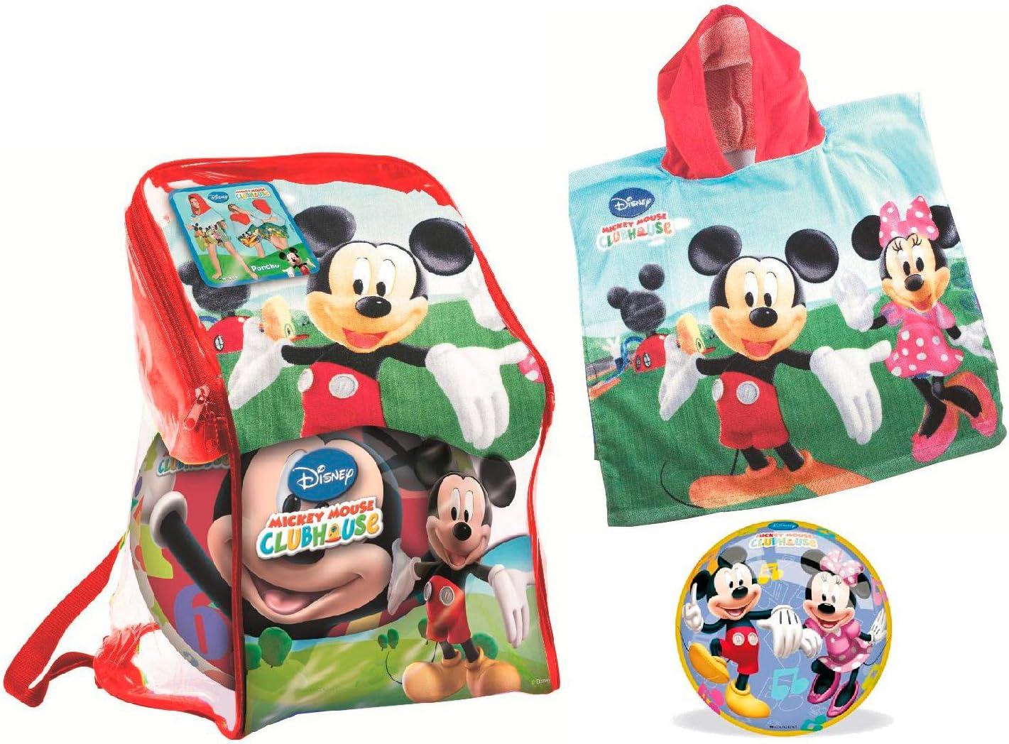 Mickey Mouse - Set de Playa con Mochila, Pelota y Poncho Toalla (Mondo 18517): Amazon.es: Juguetes y juegos