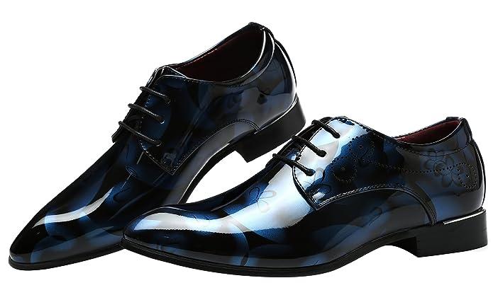 Schuhe Herren Derby Rahmengenähter Schnürhalbschuh Lackleder Oxford Schnürung Modische schuhe Männer Blau 36 EU EjsGpa