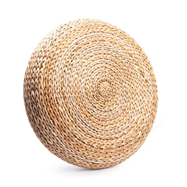 Natural Rattan Stool Ottoman - Outdoor Room Decor - Handwoven Banana Leaves Decorative Foot Rest - Round Pillow 18 inches - Gift for Women, Housewarming Summer Japanese Style Present for Her