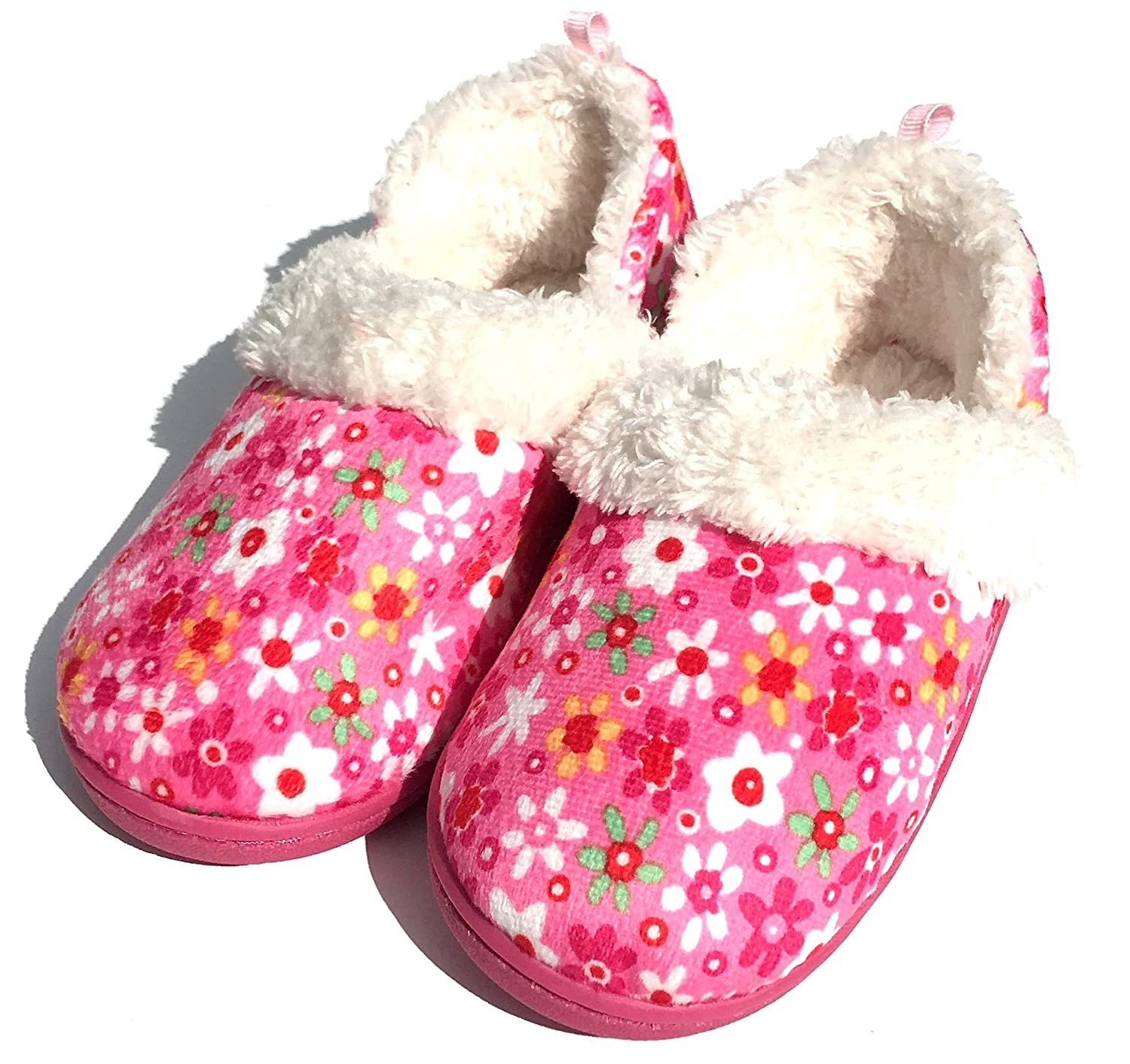 Toddler Girls Pink Daisy Flower Aline Loafer Slippers House Shoes Small 5-6