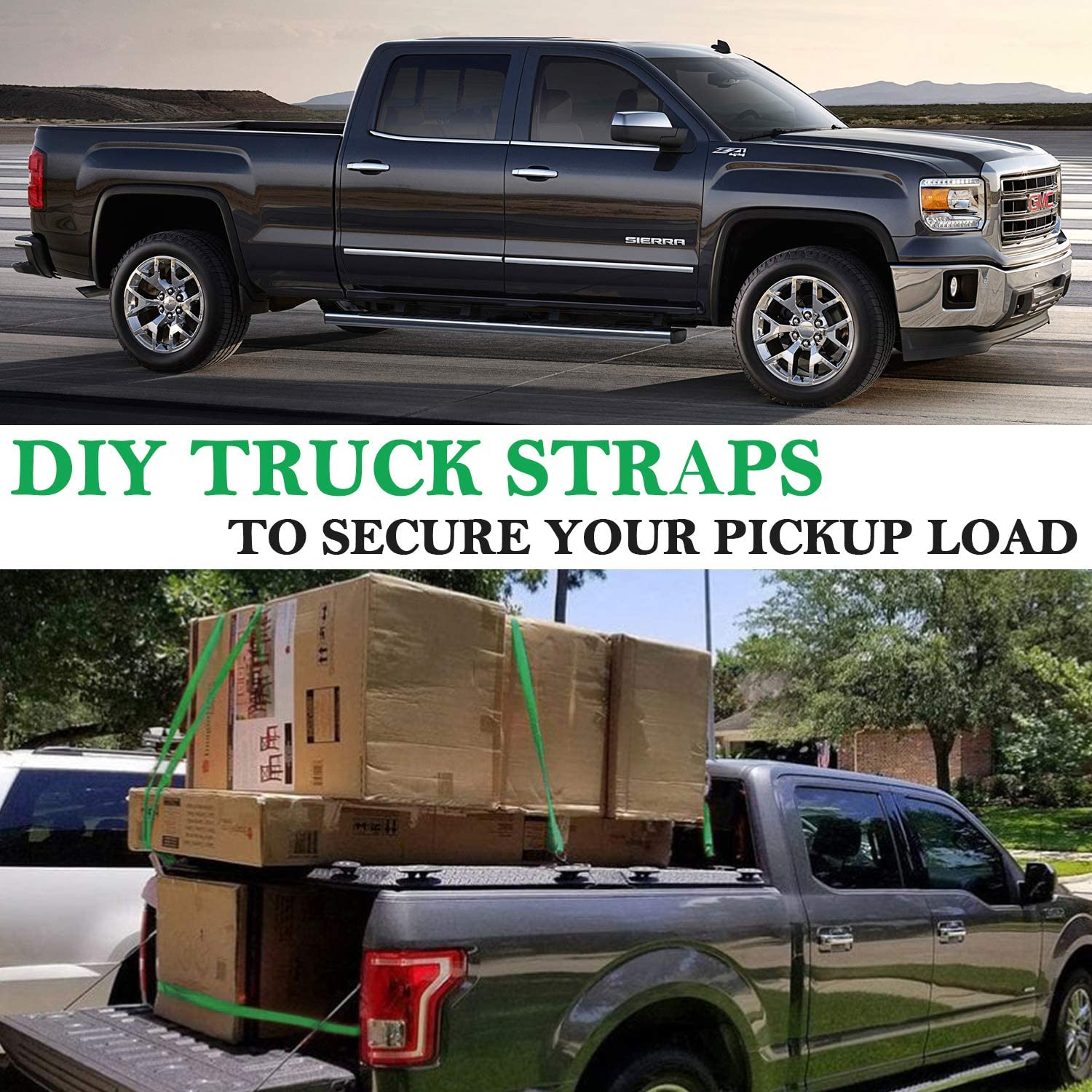 Trucks Motorcycle Trailer WinPower Ratchet Tie Down Straps 4 x 12Ft Securing Straps 1000lb Load Cap 3000lb Break Strength with S Hook for Cargo Moving