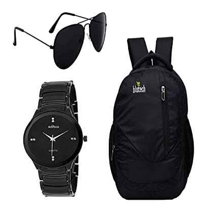 abd7257ea2c4a BLUTECH Black Aviator Sunglass for Mens and Black Bag for Laptop and Black  DIAL Watch  Amazon.in  Bags