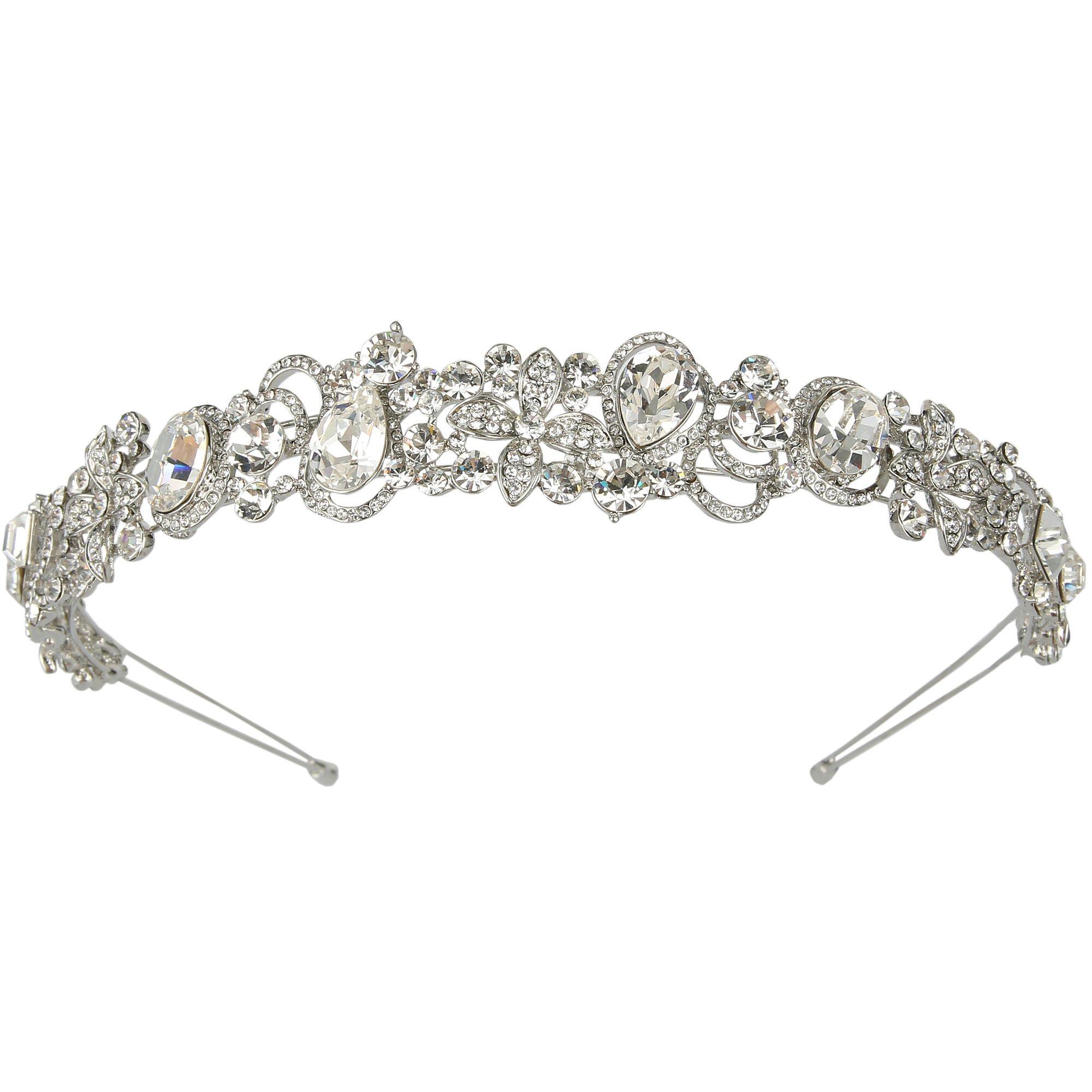 EVER FAITH Silver-Tone Austrian Crystal Bridal Flower Vine Tear Drop Head Band Clear
