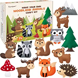 CiyvoLyeen Woodland Animals Craft Kit Forest Creatures DIY Sewing Felt Plush Animals for Kids Beginners Educational Sewing Set Girls and Boys Art Craft Kits