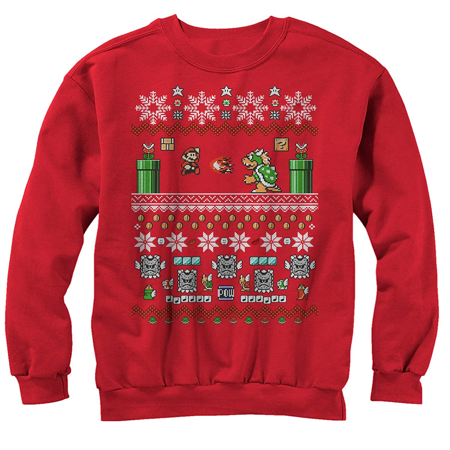 b7ae309c Nintendo Men's Mario and Bowser Ugly Christmas Sweater Sweatshirt at Amazon  Men's Clothing store: