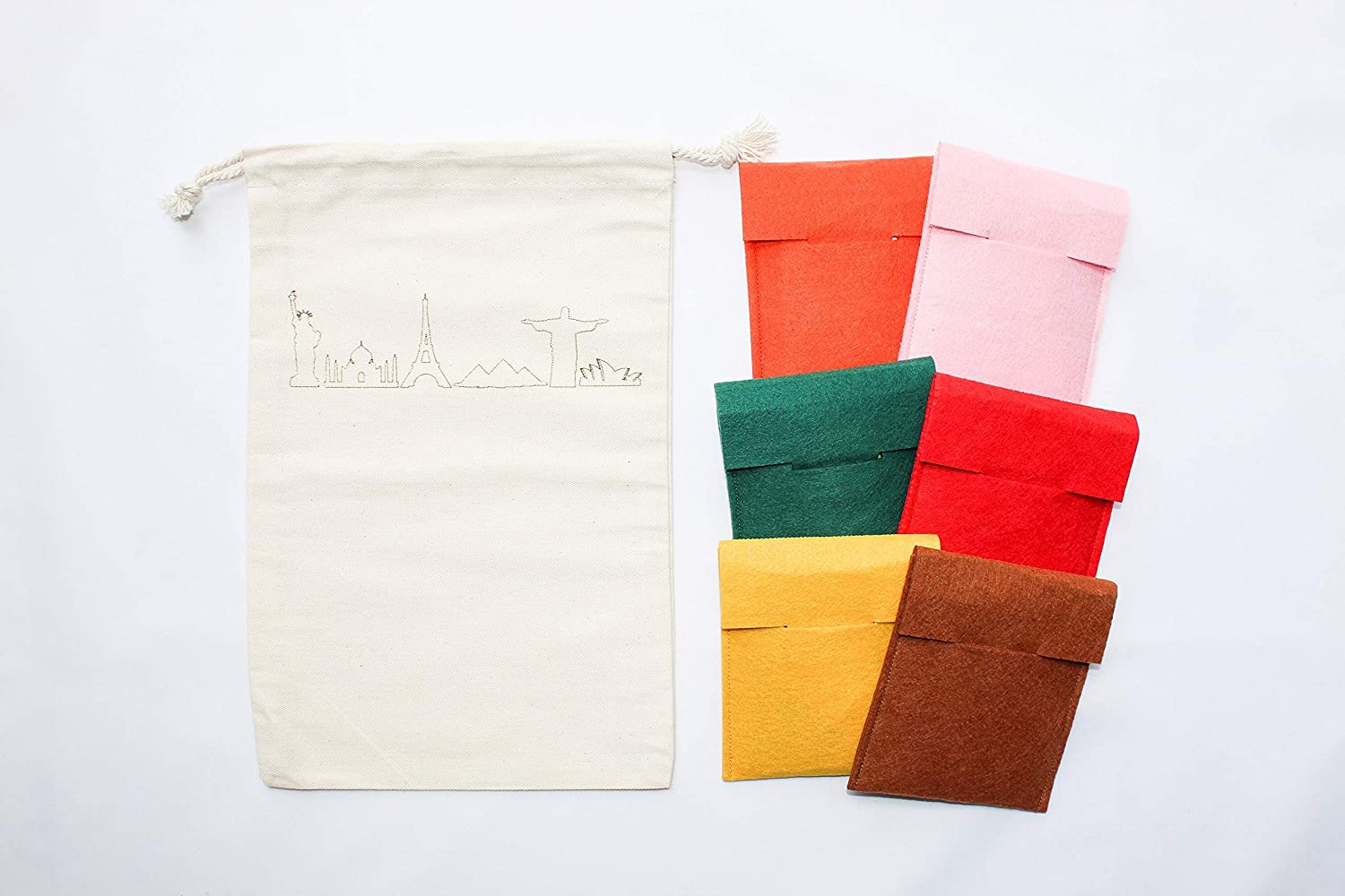 40 Landmarks of the World 3 Part Montessori Cards with Pouches