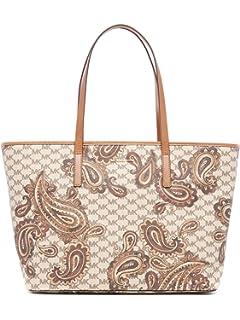4bcaecece91ea6 MICHAEL Michael Kors Womens Emry Leather Paisley Tote Handbag Beige Large