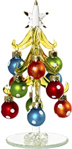 6 Inch Mini Glass Christmas Tree Tabletop Decoration with Colorful Removable Ornaments, Polka Dots