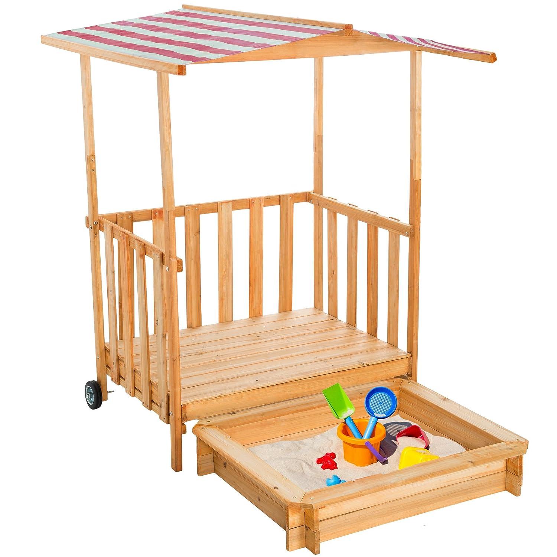 TecTake Sandkasten mit Dach Spielhaus Spielveranda Holz Sonnenschutz rot