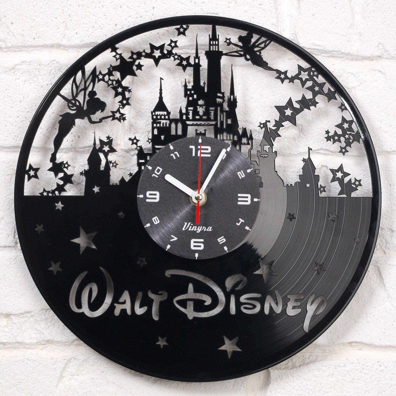 Disney Vinyl Wall Clock Decorations Art Disney Kids Gift Laser Cut Record Clock Kids Room Decor Vinyl Wall Decal Art Unique Living Room or Bedroom Decor Art black
