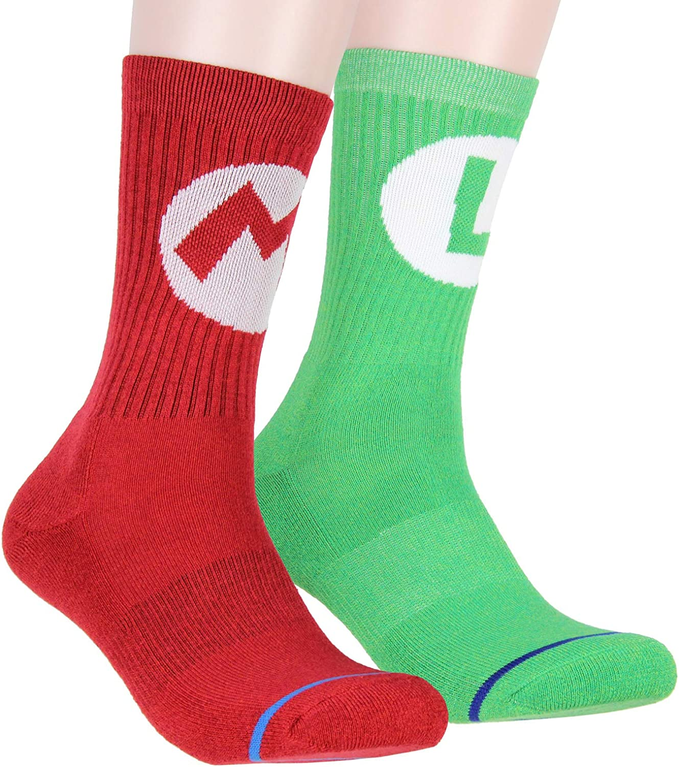 Nintendo Super Mario Adult Mario And Luigi Character Costume 2 Pair Crew Socks For Men Women: Clothing