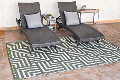 Reversible Mats Outdoor Patio Mat Virgin Polypropylene – Easy to Clean Perfect for Picnics, Cookouts, Camping, The Beach, and Patio Geometric Design 8-Feet x 10-Feet, Olive Green Beige