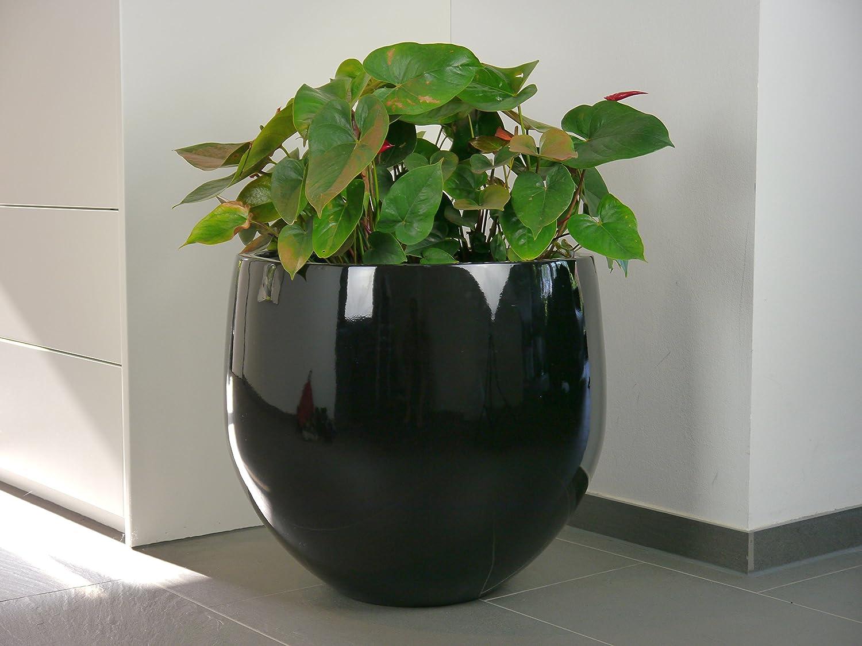 pflanzk bel yoko 55x h55cm aus fiberglas in hochglanz schwarz blumenk bel pflanzgef g nstig. Black Bedroom Furniture Sets. Home Design Ideas