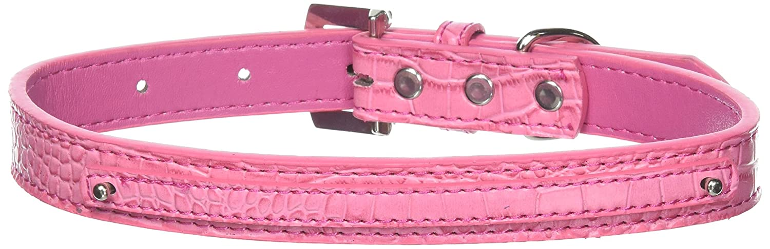 Pink NAMirage Pet Products 3 8Inch Faux Croc 2Tier Dog Collar, Small, Pink