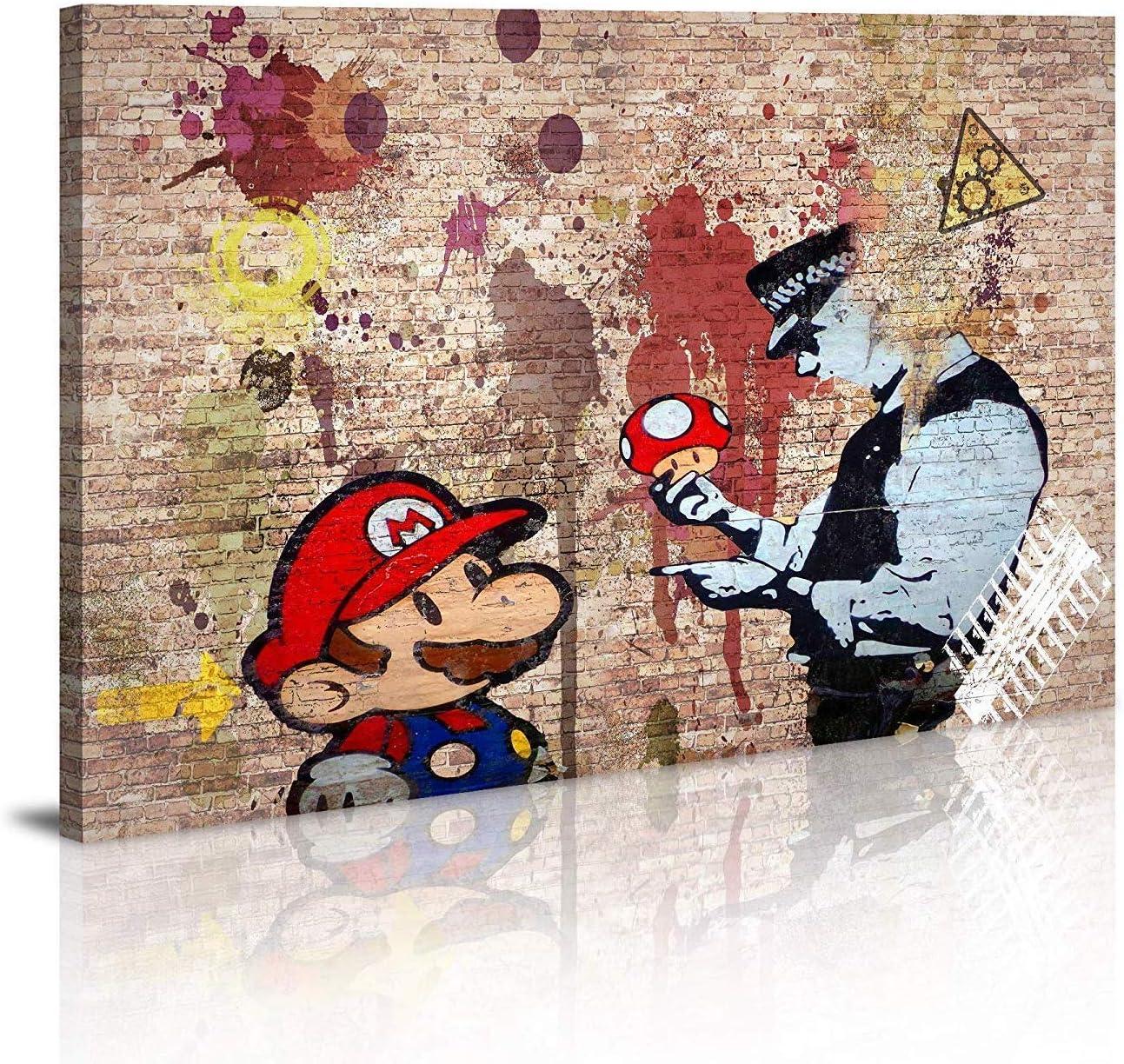 Canvas Prints Framed Wall Art Banksy Art Wall Art for Bedroom Artwork Colorful Figure Street Graffiti 20x28Wall Decor Pics for Living Room Decor Ready to Hang